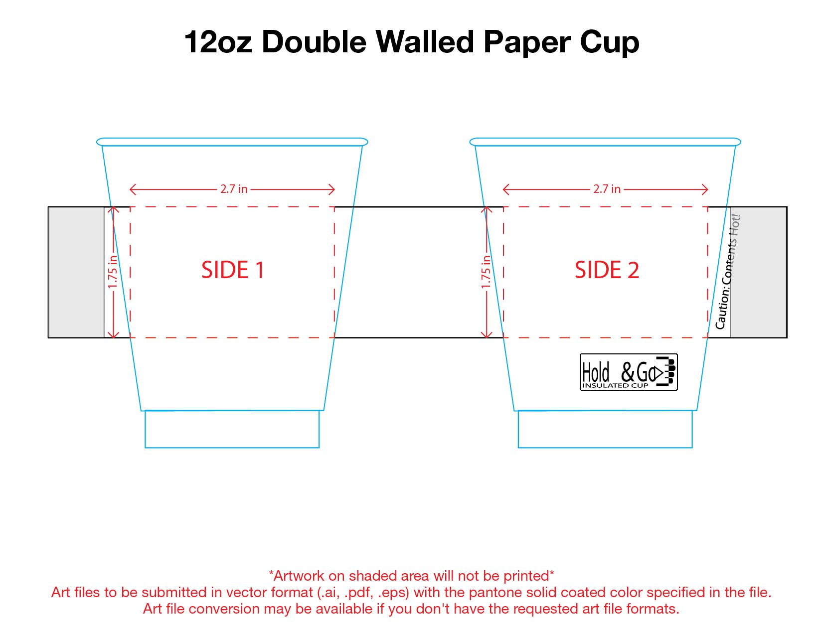 12 oz. Custom Printed Recyclable Double Walled Paper