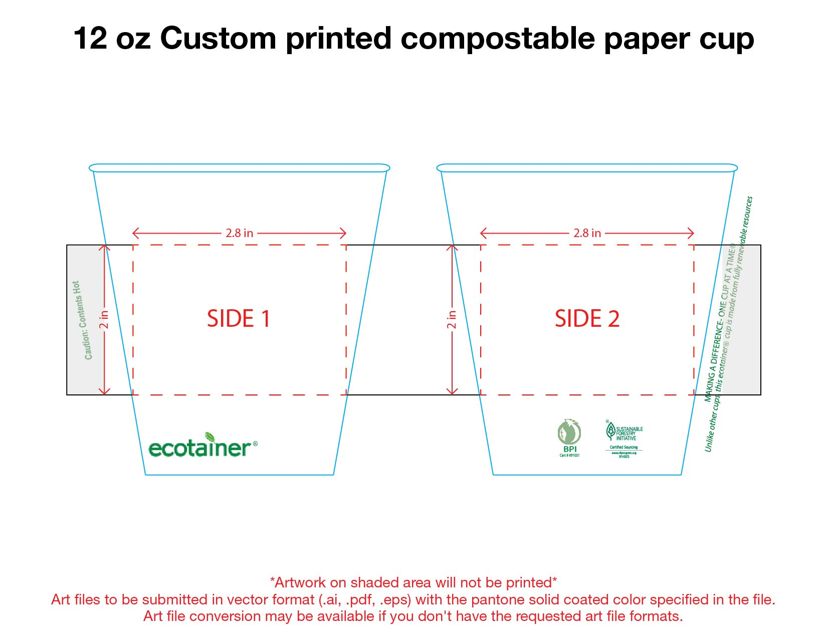 12 oz. Custom Printed Compostable Paper