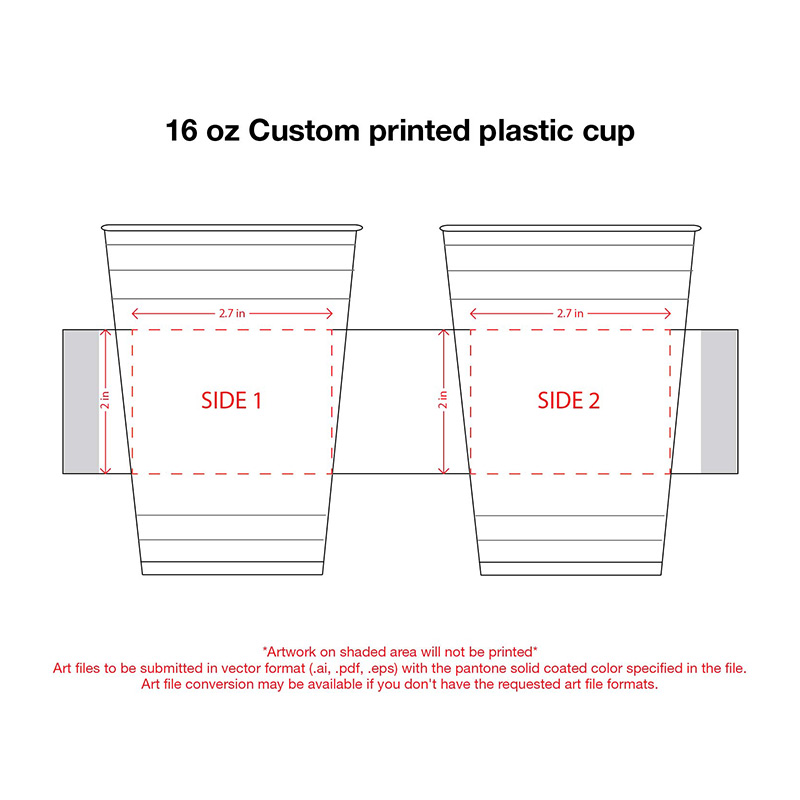 16 oz. Custom Printed Recyclable Plastic