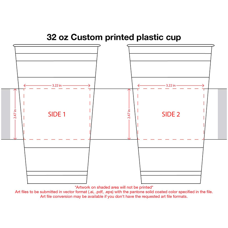 32 oz. Custom Printed Recyclable Plastic