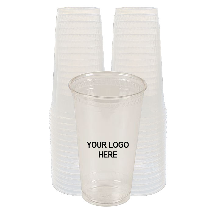 24 oz Clear PLA Plastic Cups (100/Pack)