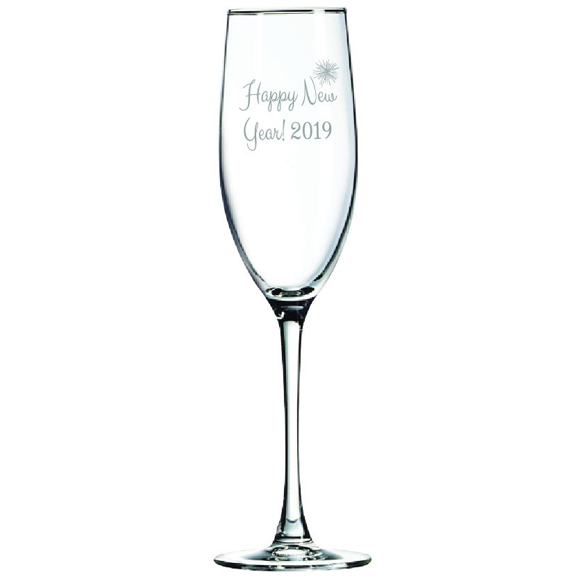Happy New Year 8 oz. Champagne Flute (Set of 12)
