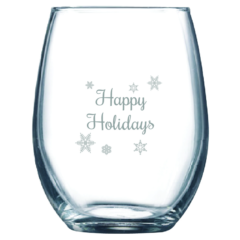 Happy Holidays 9 oz. Stemless Wine Glass (Set of 12)