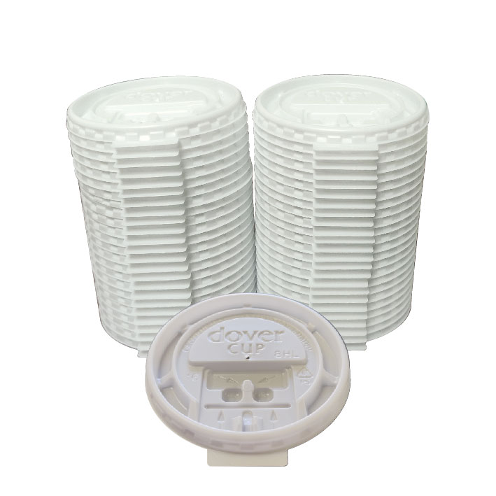 8 oz White Lock Back Lid (100/Pack)