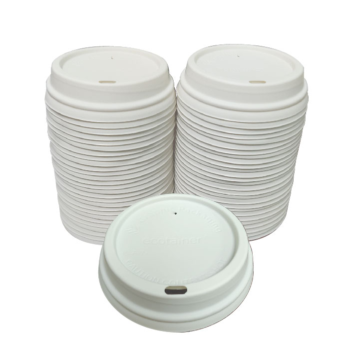 Biodegradable White Dome Lid (100/Pack)